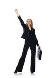 Η επιχειρηματίας γυναικών με το χαρτοφύλακα που απομονώνεται στο λευκό Στοκ φωτογραφίες με δικαίωμα ελεύθερης χρήσης