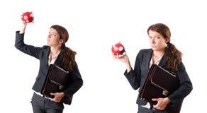 Η επιχειρηματίας γυναικών με το piggybank στο λευκό Στοκ φωτογραφία με δικαίωμα ελεύθερης χρήσης
