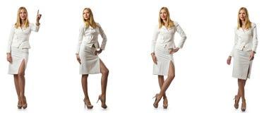 Η επιχειρηματίας γυναικών που απομονώνεται στο λευκό στοκ εικόνα