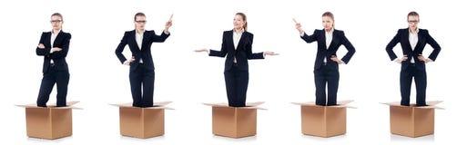 Η επιχειρηματίας γυναικών που απομονώνεται στο λευκό στοκ εικόνες