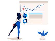 Η επιχειρηματίας δείχνει στο infographics εκθέσεων στη γραφική παράσταση και το διάγραμμα πινάκων διαγραμμάτων γραφείων διανυσματική απεικόνιση