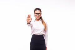 Η επιχειρηματίας δεν παρουσιάζει ΚΑΜΙΑ χειρονομία Στοκ εικόνες με δικαίωμα ελεύθερης χρήσης