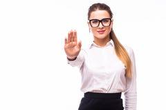 Η επιχειρηματίας δεν παρουσιάζει ΚΑΜΙΑ χειρονομία Στοκ Φωτογραφίες