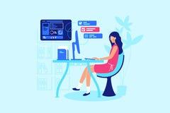 Η επιχειρηματίας εργάζεται σκληρά στον εργασιακό χώρο της διανυσματική απεικόνιση