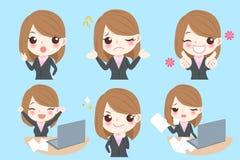 Η επιχειρηματίας κάνει τη διαφορετική συγκίνηση διανυσματική απεικόνιση