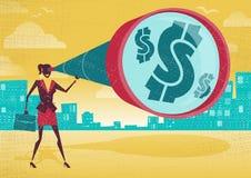 Η επιχειρηματίας κοιτάζει μέσω του τηλεσκοπίου της για να βρεί το δολάριο Στοκ Εικόνα