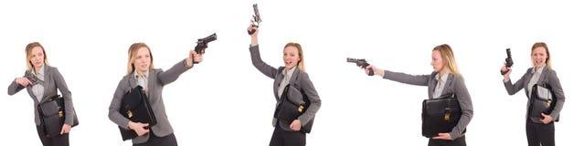 Η επιχειρηματίας με το πυροβόλο όπλο που απομονώνεται στο λευκό Στοκ Εικόνες