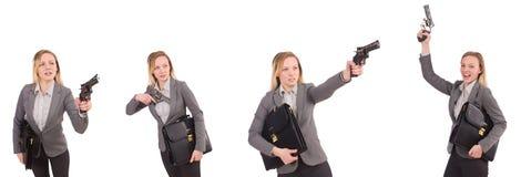 Η επιχειρηματίας με το πυροβόλο όπλο που απομονώνεται στο λευκό Στοκ εικόνες με δικαίωμα ελεύθερης χρήσης