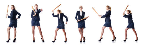 Η επιχειρηματίας με το ρόπαλο του μπέιζμπολ στο λευκό Στοκ φωτογραφία με δικαίωμα ελεύθερης χρήσης