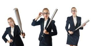 Η επιχειρηματίας με το ρόπαλο του μπέιζμπολ στο λευκό Στοκ εικόνες με δικαίωμα ελεύθερης χρήσης