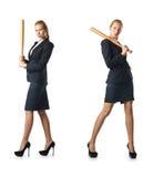 Η επιχειρηματίας με το ρόπαλο του μπέιζμπολ στο λευκό Στοκ Φωτογραφία
