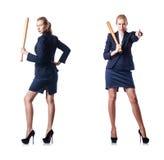 Η επιχειρηματίας με το ρόπαλο του μπέιζμπολ στο λευκό Στοκ Εικόνες