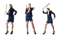Η επιχειρηματίας με το ρόπαλο του μπέιζμπολ στο λευκό Στοκ Εικόνα