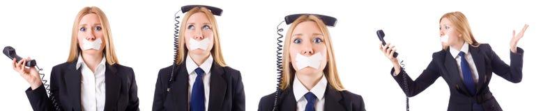 Η επιχειρηματίας με το τηλέφωνο στην έννοια λογοκρισίας Στοκ Εικόνες