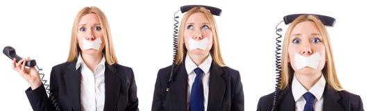 Η επιχειρηματίας με το τηλέφωνο στην έννοια λογοκρισίας Στοκ εικόνες με δικαίωμα ελεύθερης χρήσης