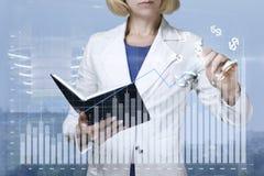 Η επιχειρηματίας σύρει μια γραφική παράσταση της οικονομικής αύξησης Στοκ Εικόνα