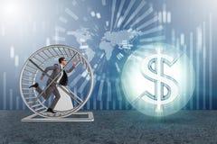 Η επιχειρησιακή έννοια με το τρέξιμο επιχειρηματιών στη ρόδα χάμστερ Στοκ εικόνα με δικαίωμα ελεύθερης χρήσης