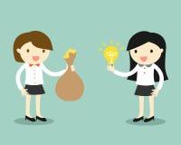 Η επιχειρησιακή έννοια, δύο επιχειρησιακές γυναίκες δίνει την ιδέα και τα χρήματα για την ανταλλαγή επίσης corel σύρετε το διάνυσ διανυσματική απεικόνιση