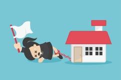 Η επιχειρησιακή γυναίκα έχει τα χρέη για να ανησυχήσει για τη μετάβαση κατ' οίκον απεικόνιση αποθεμάτων