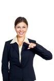 Η επιχειρησιακή γυναίκα εμφανίζει την κατεύθυνση του αριστερού. Στοκ Εικόνα
