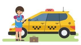 Η επιχειρησιακή γυναίκα καλεί ένα ταξί τηλεφωνικώς απεικόνιση αποθεμάτων