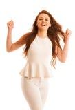 Η επιχειρησιακή γυναίκα κρατά παραδίδει τον αέρα ως χειρονομία του μεγάλου succ Στοκ Εικόνα