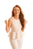 Η επιχειρησιακή γυναίκα κρατά παραδίδει τον αέρα ως χειρονομία του μεγάλου succ Στοκ Εικόνες
