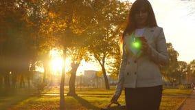 Η επιχειρησιακή γυναίκα περπατά στο πάρκο πόλεων με το smartphone στο χέρι της και ελέγχει το ηλεκτρονικό ταχυδρομείο γυναίκα με  απόθεμα βίντεο