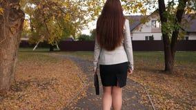 Η επιχειρησιακή γυναίκα στη φούστα και το σακάκι με το μαύρο χαρτοφύλακα διαθέσιμο, περνούν κατά μήκος του σπιτιού πεζοδρομίων απ απόθεμα βίντεο