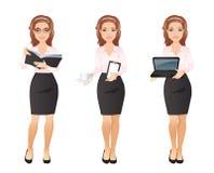 Η επιχειρησιακή γυναίκα στο ρόδινο πουκάμισο σε διαφορετικό θέτει Στοκ Φωτογραφίες