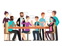 Η επιχειρησιακή ομάδα χαρακτήρα κινουμένων σχεδίων έχει τη συνομιλία Γυναίκα και άνδρας στη συνεδρίαση του πρωινού ελεύθερη απεικόνιση δικαιώματος