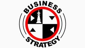 Η επιχειρησιακή στρατηγική ζωντάνεψε το έμβλημα, κύκλος logotype με το θέμα σκακιού, βασιλιάς κομματιών σκακιού, βασίλισσα, κοράκ ελεύθερη απεικόνιση δικαιώματος