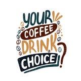 Η επιλογή ποτών καφέ σας; Διακοσμητική επιστολή coffee cup dressing girl gown morning white croissant γλυκό φλυτζανιών καφέ σπασι διανυσματική απεικόνιση