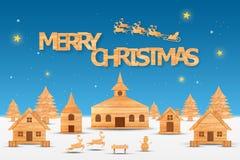 Η εποχή Χριστουγέννων και η εποχή καλής χρονιάς έκαναν από το ξύλο με την τέχνη διακοσμήσεων και το ύφος τεχνών, απεικόνιση Στοκ Εικόνα