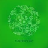 Η λεπτή γραμμή Άγιος Πάτρικ Day Icons Set Circle διαμόρφωσε την έννοια Στοκ φωτογραφίες με δικαίωμα ελεύθερης χρήσης