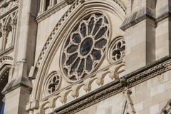 Η λεπτομέρεια της πρόσοψης του Cuenca καθεδρικού ναού, ο καθεδρικός ναός είναι ded Στοκ εικόνα με δικαίωμα ελεύθερης χρήσης