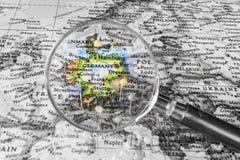 Η λεπτομέρεια του χάρτη της Γερμανίας Στοκ Εικόνες