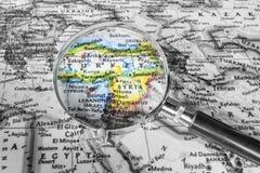 Η λεπτομέρεια του χάρτη της Τουρκίας και της Συρίας Στοκ φωτογραφία με δικαίωμα ελεύθερης χρήσης