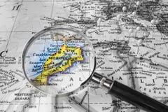 Η λεπτομέρεια του χάρτη Marocco Στοκ εικόνα με δικαίωμα ελεύθερης χρήσης