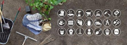 Η εργασία ατόμων στο φυτικό κήπο τοποθετεί εγκαταστάσεις στο έδαφος, τα εικονίδια και τα σύμβολα του εξοπλισμού κηπουρικής στοκ φωτογραφίες