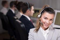Η εργασία σε ένα τηλεφωνικό κέντρο μπορεί να είναι μια εργασία ονείρου Στοκ Φωτογραφίες