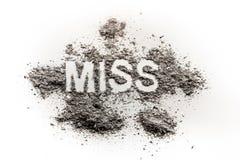 Η δεσποινίδα λέξης που γράφεται στο ρύπο, σκόνη, τέφρα ως θέαμα, διαγωνισμός, ΓΠ Στοκ φωτογραφίες με δικαίωμα ελεύθερης χρήσης