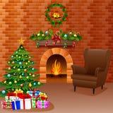 Η εστία Χριστουγέννων με το χριστουγεννιάτικο δέντρο, παρουσιάζει, και καναπές διανυσματική απεικόνιση