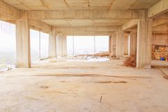 Η εσωτερική ανάπτυξη σχεδίων οικοδόμησης εργοτάξιων οικοδομής στην κατοικία με το διάστημα αντιγράφων προσθέτει το κείμενο Στοκ Φωτογραφίες