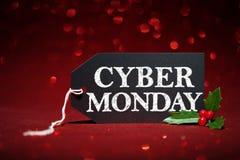 Η ετικέττα πώλησης Δευτέρας Cyber στο κόκκινο ακτινοβολεί στοκ εικόνες