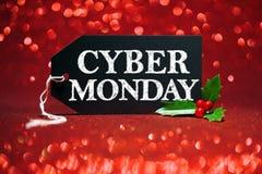 Η ετικέττα πώλησης Δευτέρας Cyber στο κόκκινο ακτινοβολεί στοκ φωτογραφία