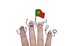 Η ευθυμία έννοιας δάχτυλων επάνω στο ποδόσφαιρο ομάδων με κρατά ψηλά τη σημαία Portuga Στοκ φωτογραφίες με δικαίωμα ελεύθερης χρήσης
