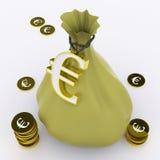 Η ευρο- τσάντα σημαίνει τον ευρωπαϊκούς πλούτο και τα χρήματα ελεύθερη απεικόνιση δικαιώματος