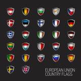 Η Ευρωπαϊκή Ένωση δηλώνει τις πλήρεις σημαίες Διανυσματικές ασπίδες χωρών Στοκ Φωτογραφία