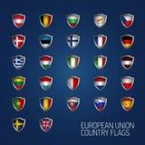 Η Ευρωπαϊκή Ένωση δηλώνει τις πλήρεις σημαίες Διανυσματικές ασπίδες χωρών Στοκ Εικόνες